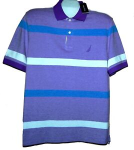Nautica Purple Blue White Stripes Polo Men's Cotton Casual T-Shirt Size XL NEW