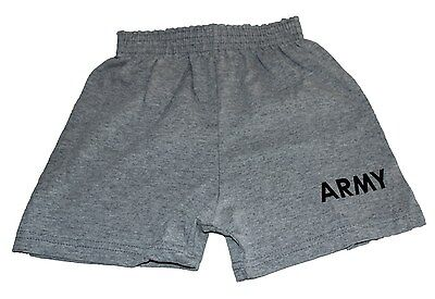 Army Shorts 4T Heather Gray Small Boy or Girl MJ Soffe USA Made