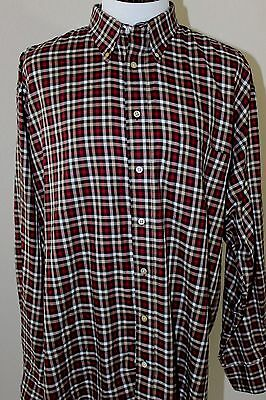 BURBERRY LONDON Men's Long Sleeve Shirt Red White Plaid/Checks Sz XL EUC