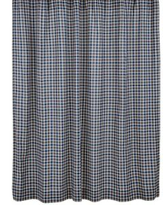 New Country Cottage Navy Blue Khaki Tan Plaid Fabric Shower Curtain EBay