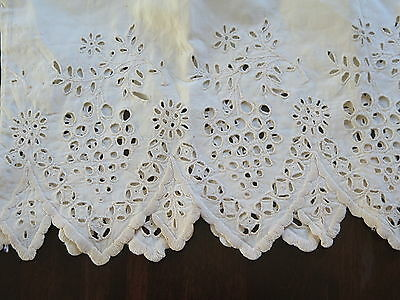 Vtg Antique Early Hand Embroidered Cutwork Eyelet Lace Pillowcase Collector AsIs
