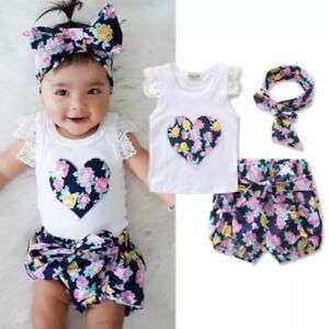 31e7a30d0cd Baby Girls Summer Boutique Outfit T Shirt Shorts  amp  Heaband ...