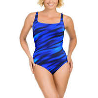 Womens Size 8 Miraclesuit Slimming One Piece Swimsuit Suit Wavy Navy Blue