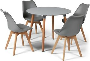04dcabc80372 Toulouse Eiffel Small Grey Dining Set 90cms Round Table Wood Legs 4 ...
