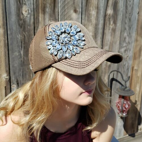 Womens Mesh Trucker Style Brown Rhinestone Bling Flower Cap Hat NEW Olive Pique