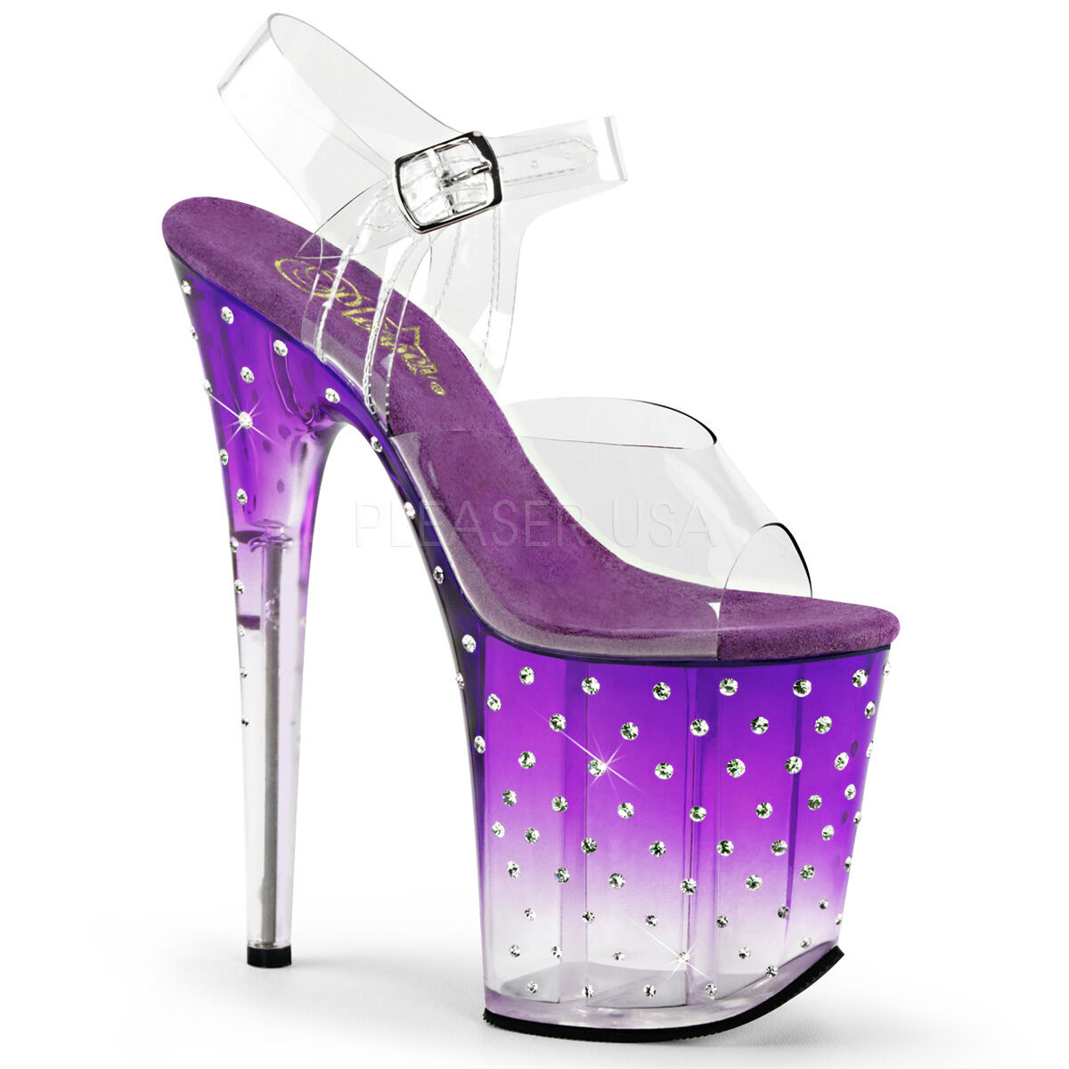 Sexy Rhinestone Tinted Platform 8  High Heels Stripper Dancer Purple shoes