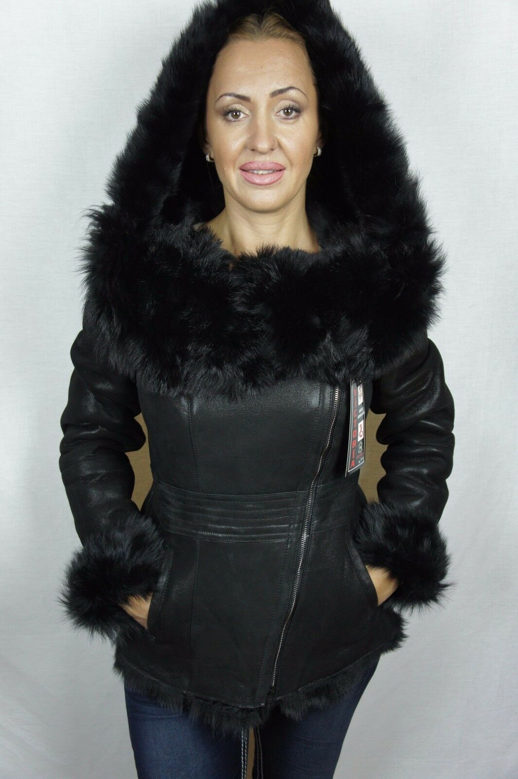 Negra, 100% Piel De Oveja Toscana  de piel de oveja Cuero Piel De Cordero Capucha Abrigo Chaqueta xs-7xl  nuevo sádico