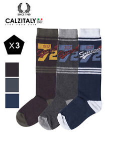 74b7d6e8af979 Details about 3 Pairs Kids Knee High Socks, Cotton Boys Patterned Socks,  Made in Italy