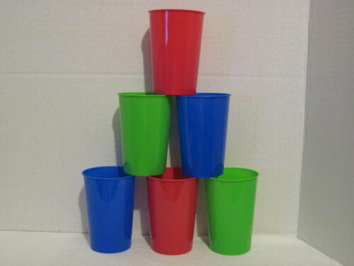 Plastic Tumblers 6 Pack Set Red Blue Green Reusable Drink Glass Party Cup Picnic