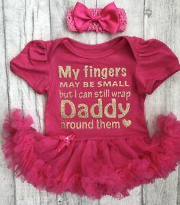 Daddy S Baby Girl Pink Tutu Romper Dress Newborn Princess Gift Love