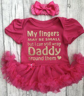 Affidabile Daddy's Baby Girl Rosa Tutu Romper Vestito Neonato Principessa Padre's Giorno Regalo Uk-