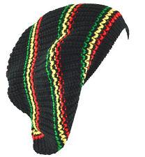 Unisex Slouchy Rasta Beanie Knit Hat 4 Colors Stripe-green yellow red(black)