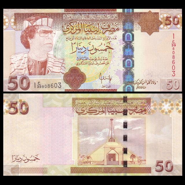 50 Dinars 2008 P 75 Unc Muammar Gaddafi