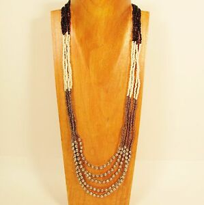 32-034-Black-Silver-Color-Block-Waterfall-Silver-Bead-Handmade-Seed-Bead-Necklace