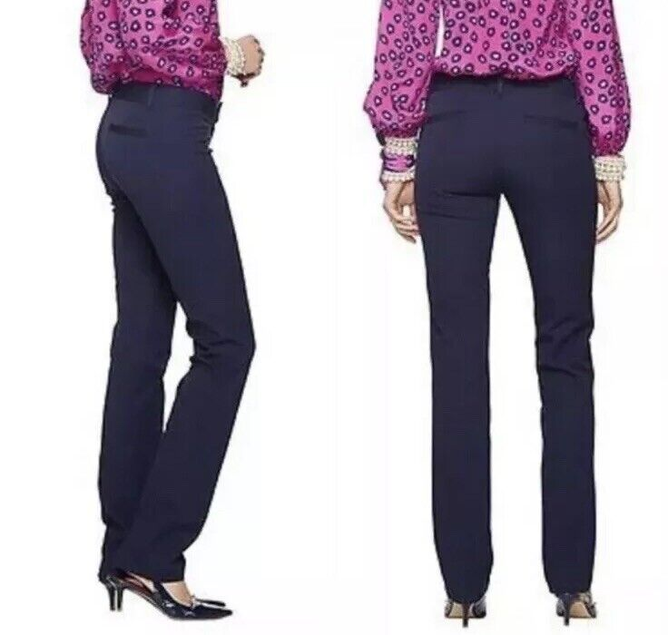 NWT  Größe 0 Lilly Pulitzer Leigh Straight Leg Trouser Dress Pant True Navy  168