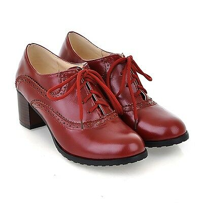 US4-11 Brogue Women Lace Up Retro Mid Chunky Heels Oxford Wing Tip leisure Shoes