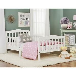 Toddler-Beds-with-Safety-Rails-Frame-for-Kids-Adult-Children-Bedroom-Dorm-White