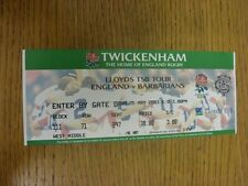 25/05/2003 Ticket: Rugby Union, England v Barbarians [At Twickenham]. Thanks for