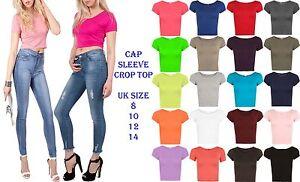 Womens-Cap-Sleeve-Crop-Top-Ladies-Round-Neck-Stretch-Plain-Vest-T-Shirt