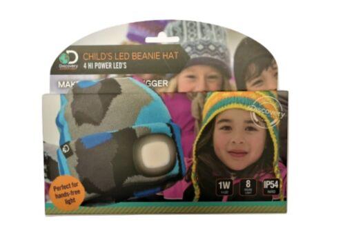 Sommet Bleu Camouflage Enfant DEL Torche Beanie chapeau pour camping//course//marche
