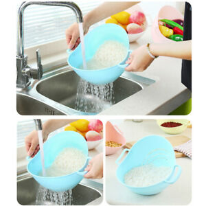Double-Handle-Vegetable-Fruit-Rice-Washing-Drain-Strainer-Colander-Basket-Home