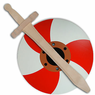 ROUND VIKING RED AND WHITE SHIELD & WOODEN SWORD ROLE PLAY TOY