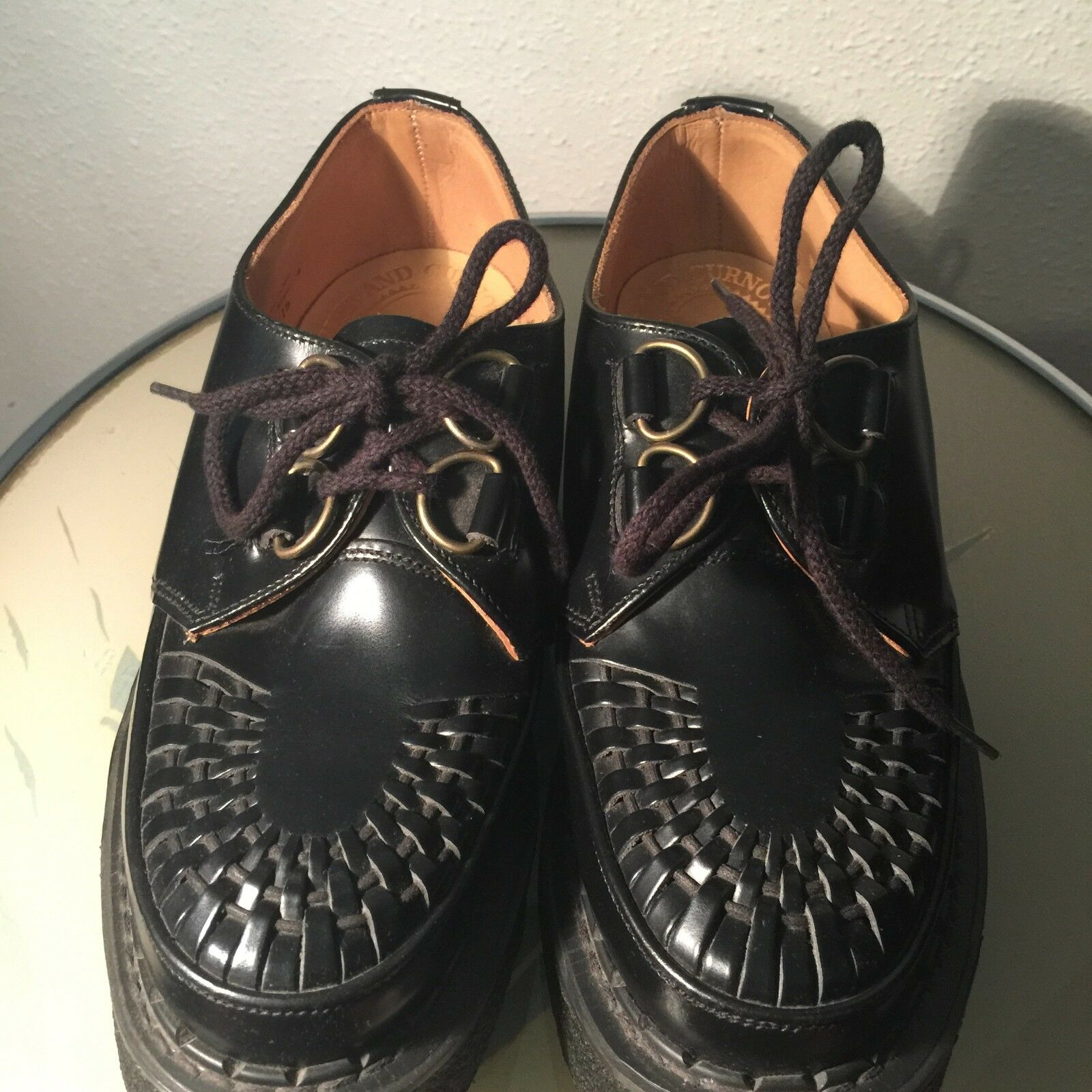 English leather chaussures D ring brougehel creepers UK 4 Rockabilly View Factory