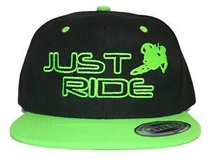 CUSTOM MX NUMBER PLATE HAT JUST RIDE SNAPBACK MESH CAP MOTO MOTOCROSS KX LIME