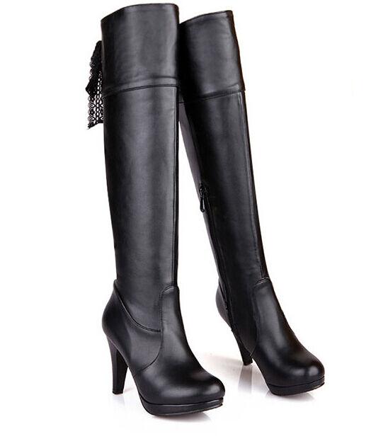 Stiefeletten stiefel frau schenkel absatz 11.5 cm schwarz elegant heiß