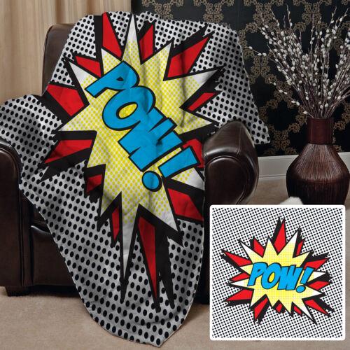 Comic Expression POW Design Soft Fleece Throw Blanket grande idée cadeau