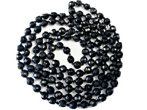 Vintage Hand Knotted Long French Jet Glass Faceted Bead Necklace 50 Inches BOXED