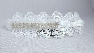 Lace tiara headband off white baby hair band, baptism, wedding, christening bow