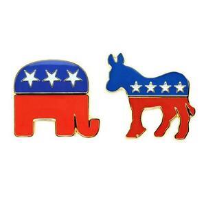 democratic donkey republican elephant pin political party mascot