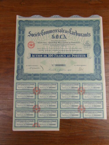 ACTION WARRANT SOCIETE COMMERCIALE DES CARBURANTS SOCA 1927