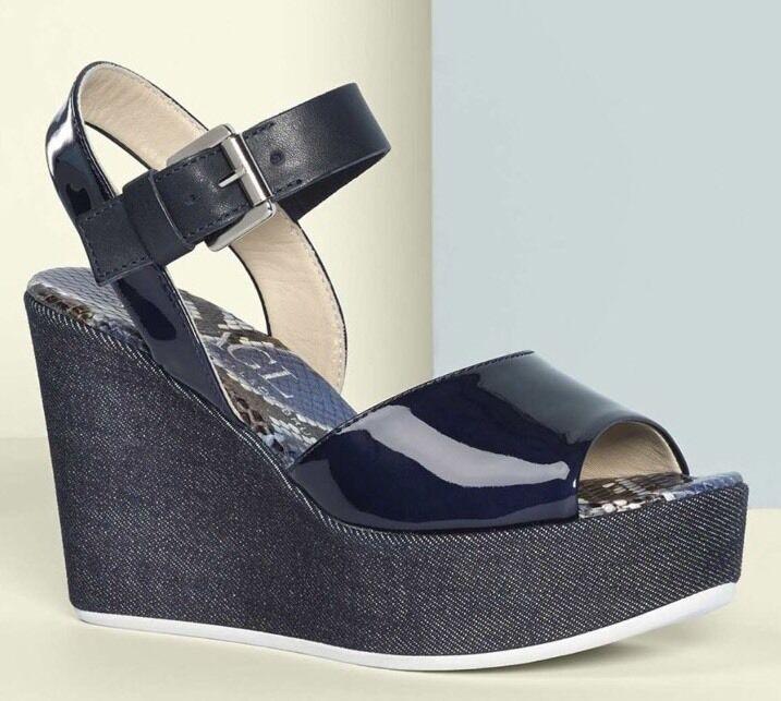 New AGL Attilio Giusti Leombruni Denim  Wedge Leather Sandal Sz 36.5  370