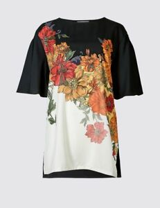 New M/&S PER UNA Black Floral Long Sleeve Longline Shirt Top sz UK 10 14 16