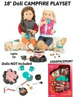 """18"""" Doll CAMPING Light-Up Fire-Pit Cooking Dishes Food PLAY-SET 4 American Girl"""