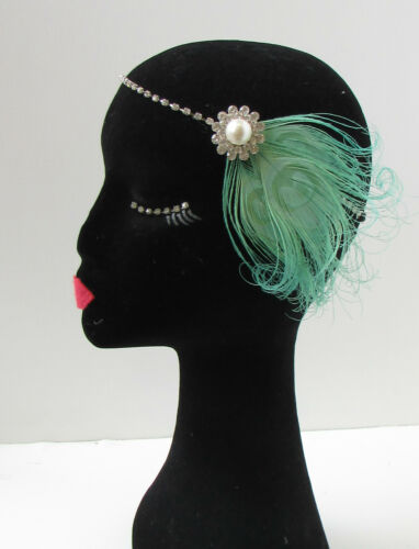 Minzgrün Silber Feder Kopfteil 1920s Große Gatsby Flapper Stirnband Vtg 21
