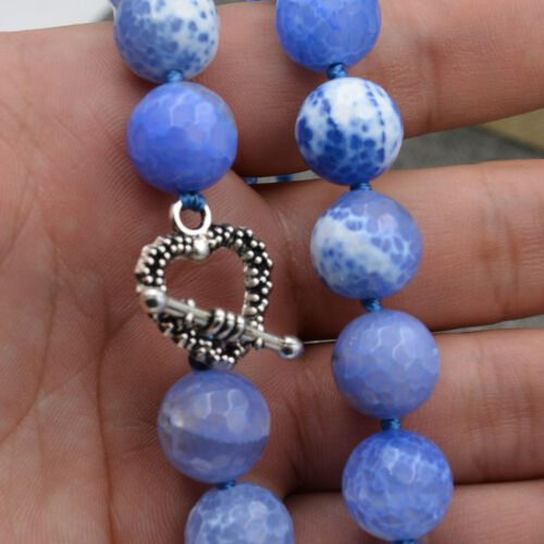 12mm Faceted Blue Dream Fire Dragon Veins Agate Round Gems Necklace silverclasps