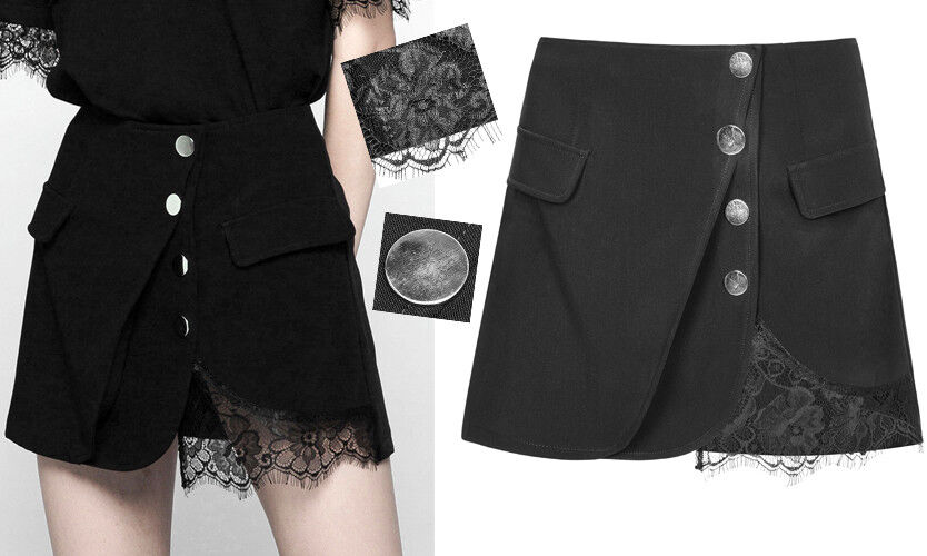 Jupe mini trapèze gothique punk lolita sexy fashion dentelle boutons PunkRave