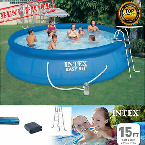 Details about Intex 15 X 42 Swimming Pool Set Easy Filter Pump Ladder  Ground Cloth Cover 1000