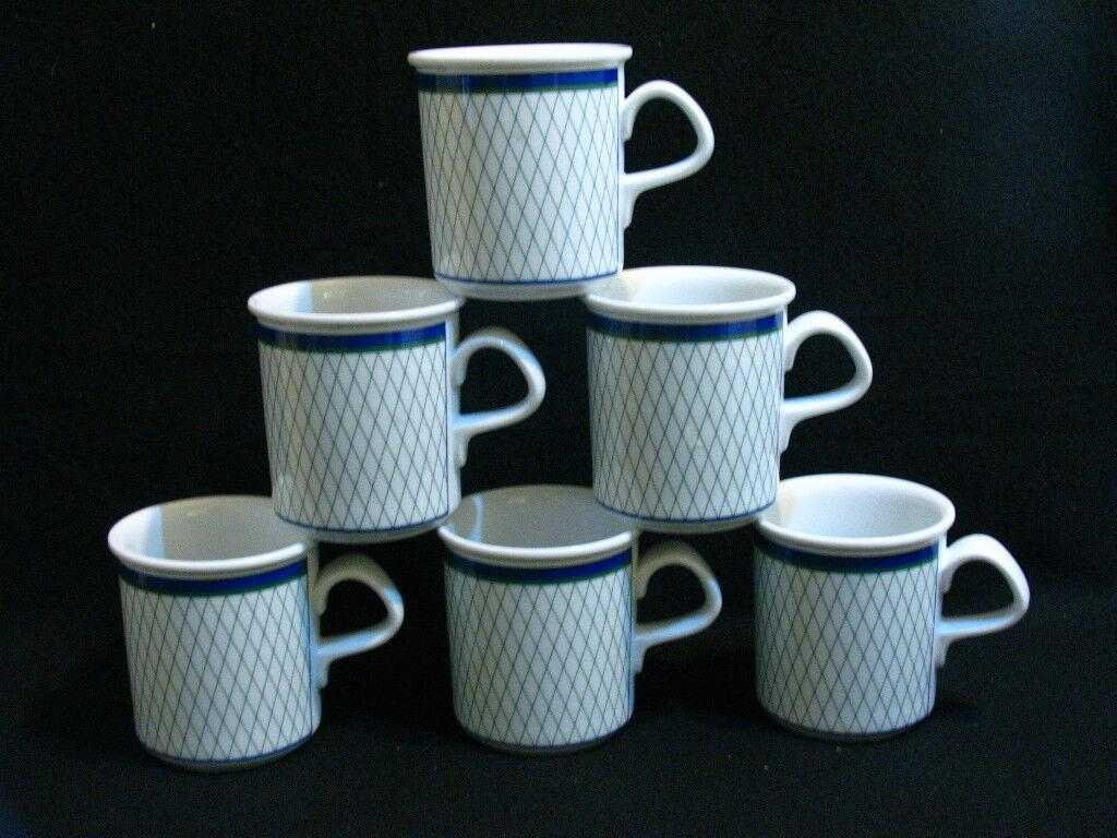 Dansk San Marquesa Mugs Bleu Blanc Vert Lot de 6 Porcelaine Tasses de Café