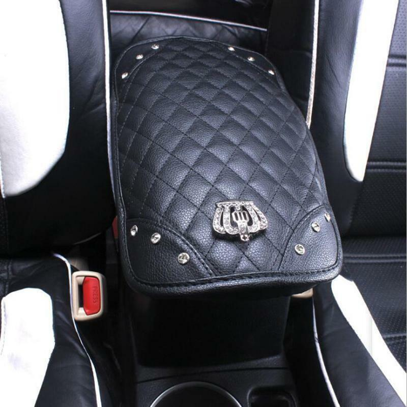Bling Diamond Rhinestone Leather Armrest Box Rail Pad Mat Car Accessories Black
