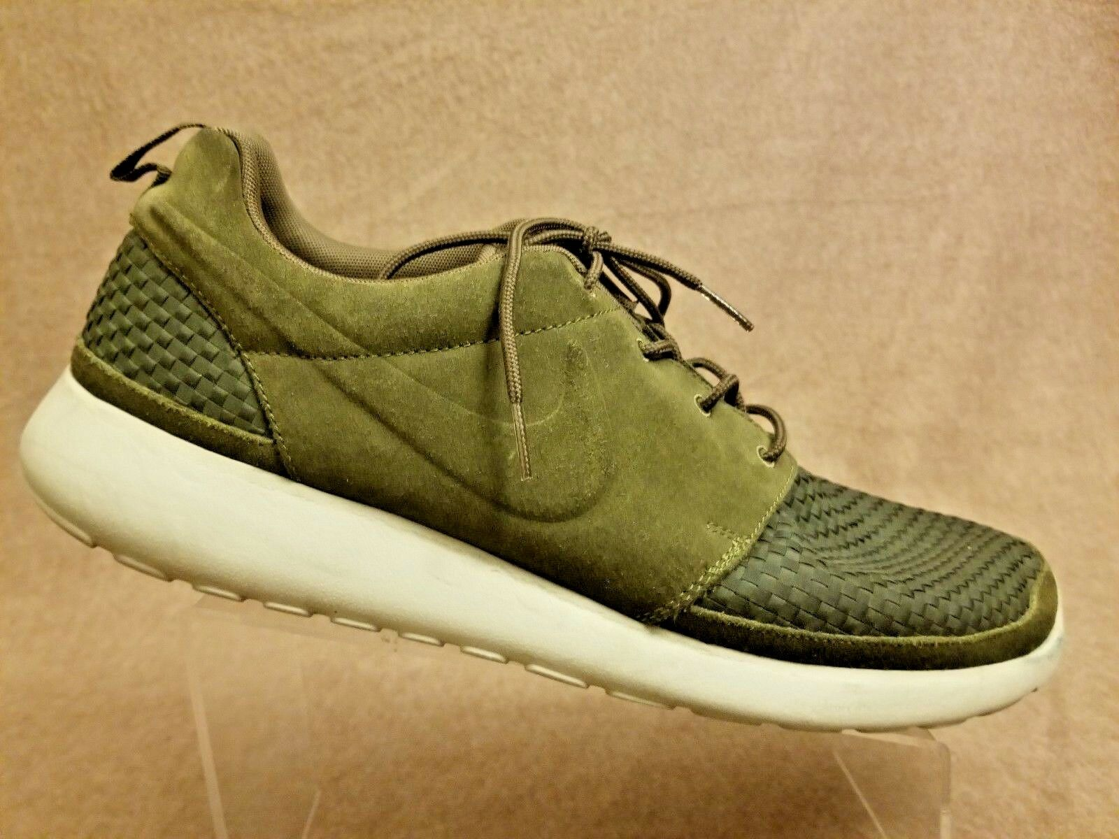 Nike Woven Roshe Run Olive Suede Green Flyknit 555602-332 Men Sport Shoes Sz 15 Special limited time