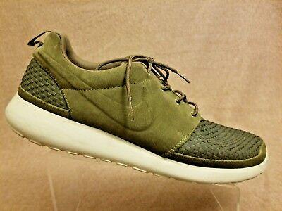 02efb67aca426 Nike Woven Roshe Run Olive Suede Green Flyknit 555602-332 Men Sport Shoes  Sz 15
