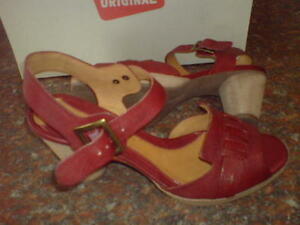 Clarks 6 Red para Leather Sedge Uk Summer Heel mujer Shoe Auburn HqHwraUx