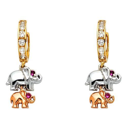 Elephant Dangle Earrings Solid 14k Yellow White Rose Gold Huggies CZ Drop Fancy