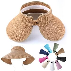 55118b00 Women Roll Up Wide Brim Sun Visor Topless Straw Hat Foldable Floppy ...