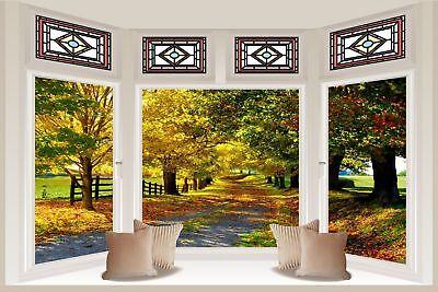 Huge 3D Window view Beautiful Leafy Lane Wall Sticker Film Decal Wallpaper S97