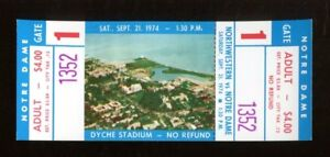 1974-Notre-Dame-v-Northwestern-Football-Full-Ticket-9-21-Notre-Dame-Stadium
